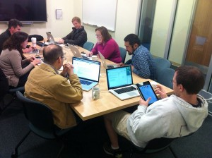 The Doc'ers hard at work reviewing Moodle 2.6.