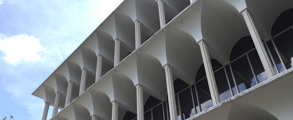 The white, aquaduct-like facade of Irwin Library at Bulter University