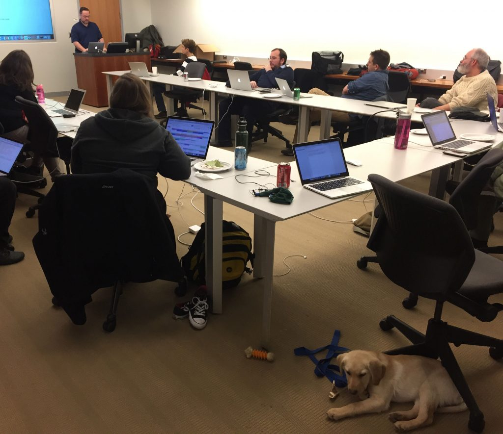 Attendees at Hack/Doc sit around a U-shaped table while a male presenter talks. A small Yellow Labrador puppy is laying down in the foreground.