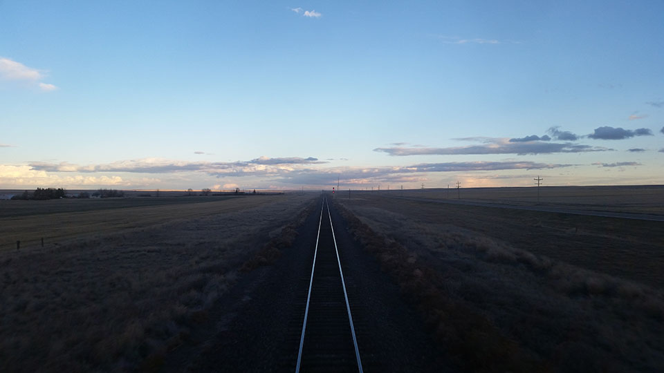 Railroad tracks disappearing into the distance